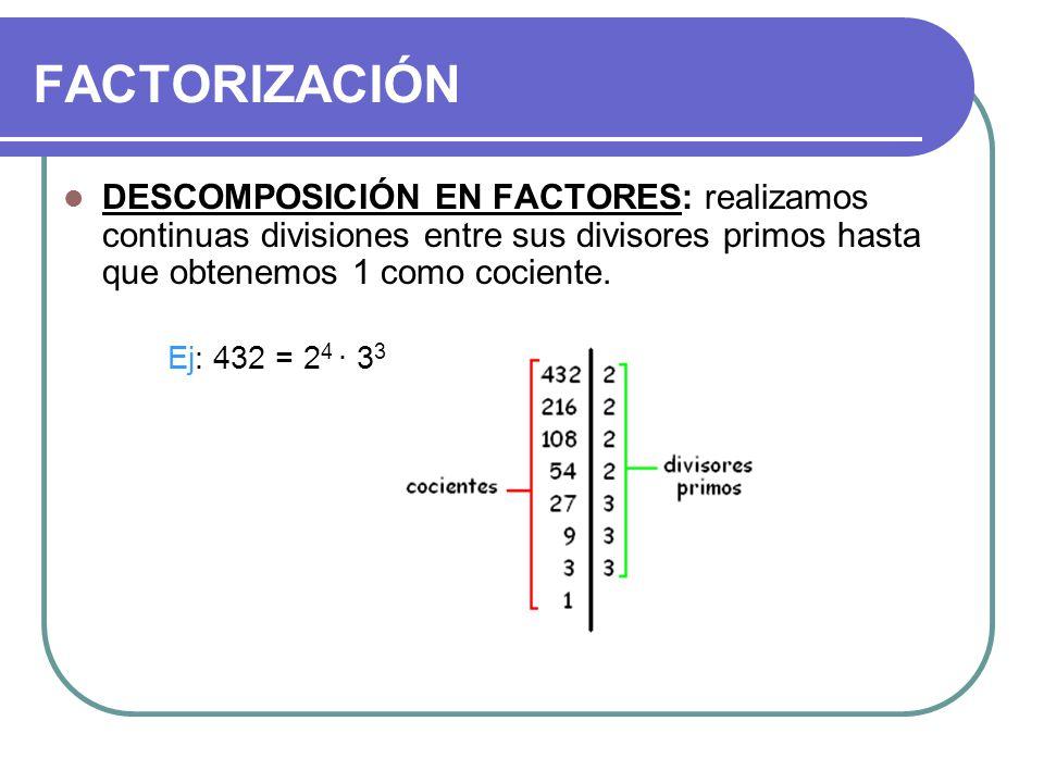 FACTORIZACIÓN DESCOMPOSICIÓN EN FACTORES: realizamos continuas divisiones entre sus divisores primos hasta que obtenemos 1 como cociente.
