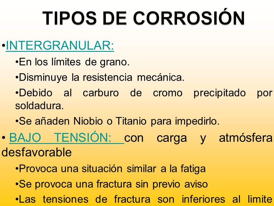 TIPOS DE CORROSIÓN INTERGRANULAR: