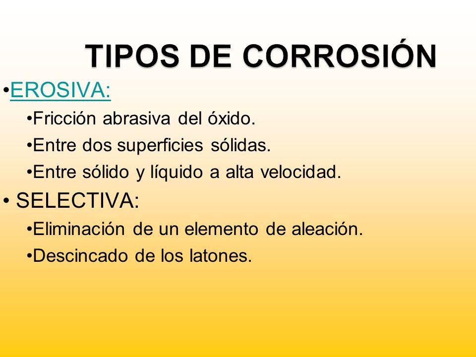 TIPOS DE CORROSIÓN EROSIVA: SELECTIVA: Fricción abrasiva del óxido.