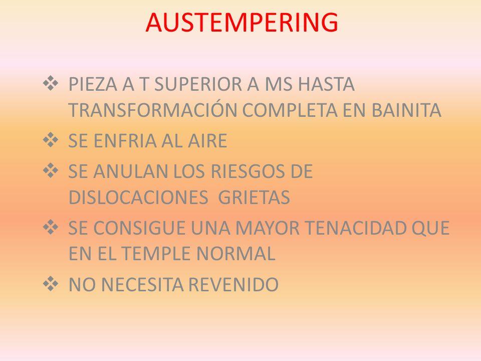 AUSTEMPERINGPIEZA A T SUPERIOR A MS HASTA TRANSFORMACIÓN COMPLETA EN BAINITA. SE ENFRIA AL AIRE. SE ANULAN LOS RIESGOS DE DISLOCACIONES GRIETAS.