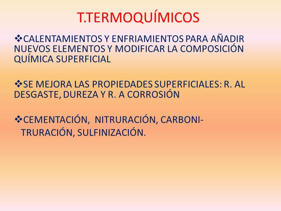 T.TERMOQUÍMICOSCALENTAMIENTOS Y ENFRIAMIENTOS PARA AÑADIR NUEVOS ELEMENTOS Y MODIFICAR LA COMPOSICIÓN QUÍMICA SUPERFICIAL.