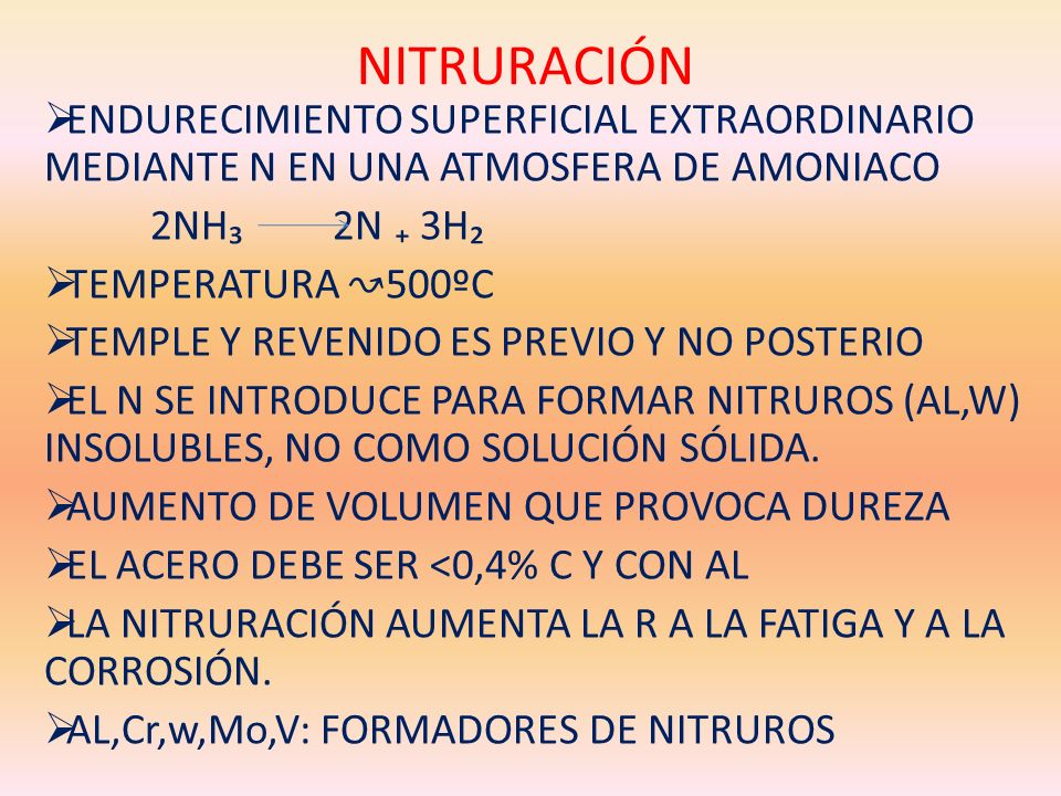 NITRURACIÓN ENDURECIMIENTO SUPERFICIAL EXTRAORDINARIO MEDIANTE N EN UNA ATMOSFERA DE AMONIACO. 2NH₃ 2N ₊ 3H₂.