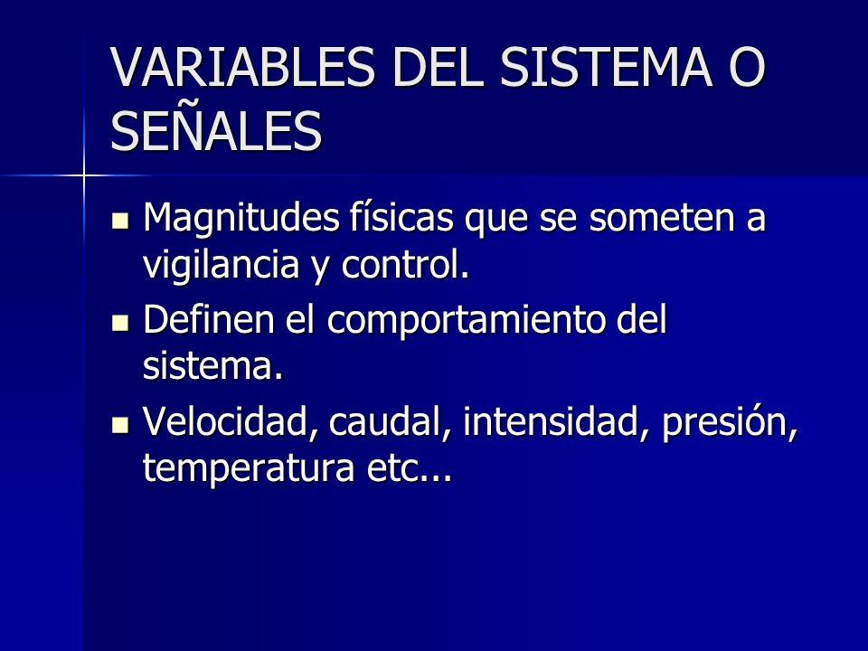 VARIABLES DEL SISTEMA O SEÑALES