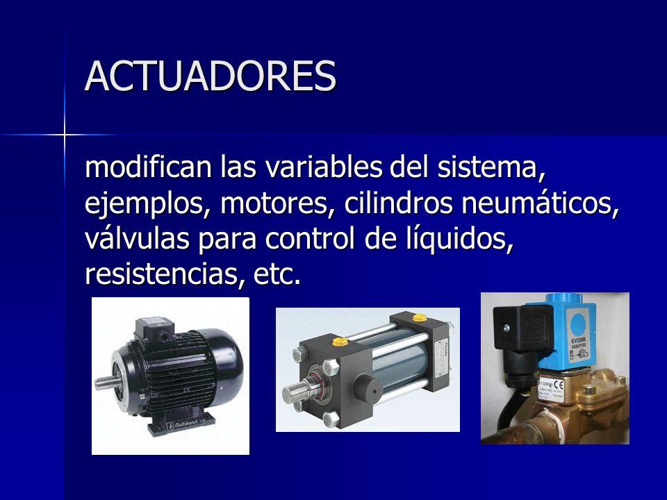 ACTUADORESmodifican las variables del sistema, ejemplos, motores, cilindros neumáticos, válvulas para control de líquidos, resistencias, etc.