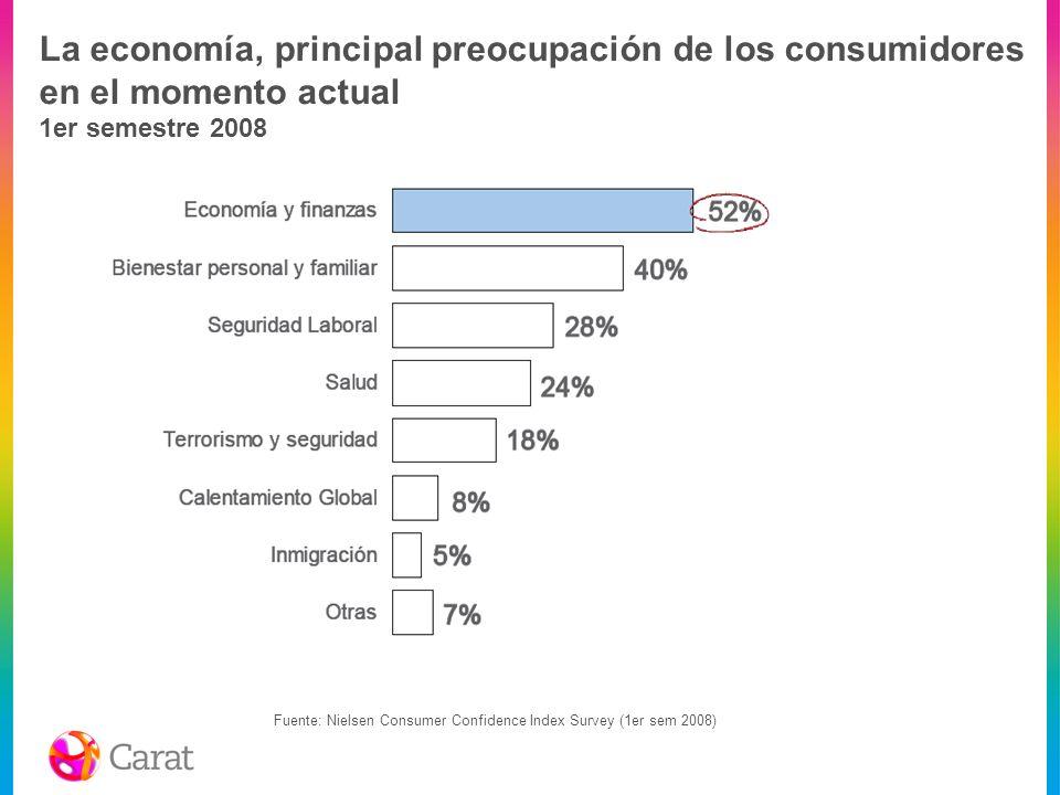La economía, principal preocupación de los consumidores en el momento actual 1er semestre 2008
