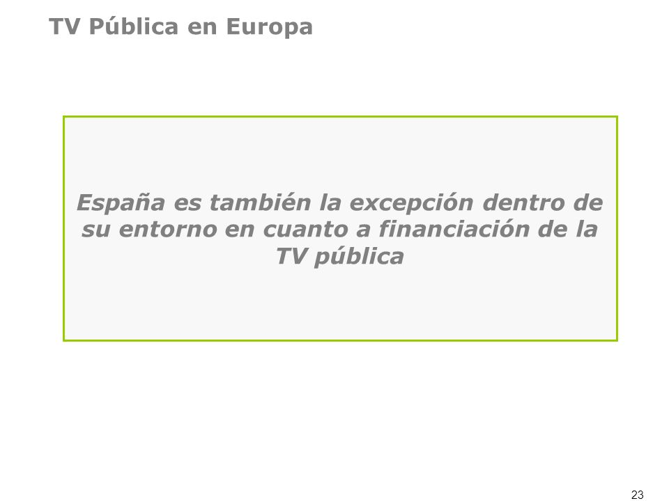 TV Pública en Europa España es también la excepción dentro de su entorno en cuanto a financiación de la TV pública.