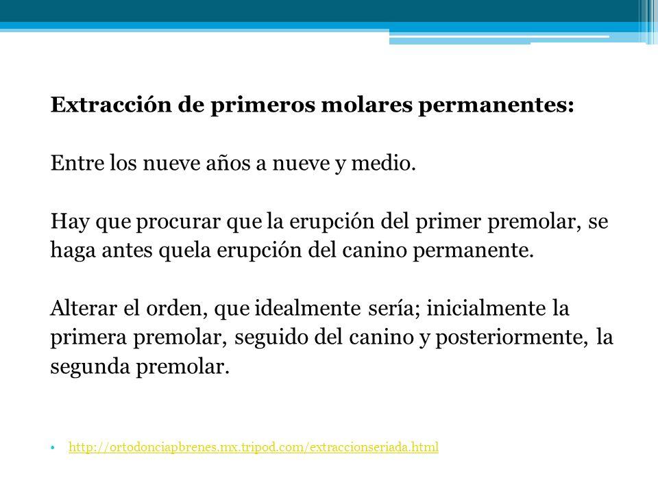 Extracción de primeros molares permanentes: