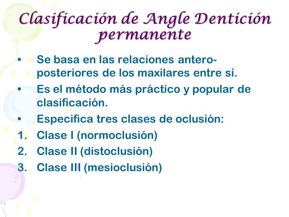 Clasificación de Angle Dentición permanente