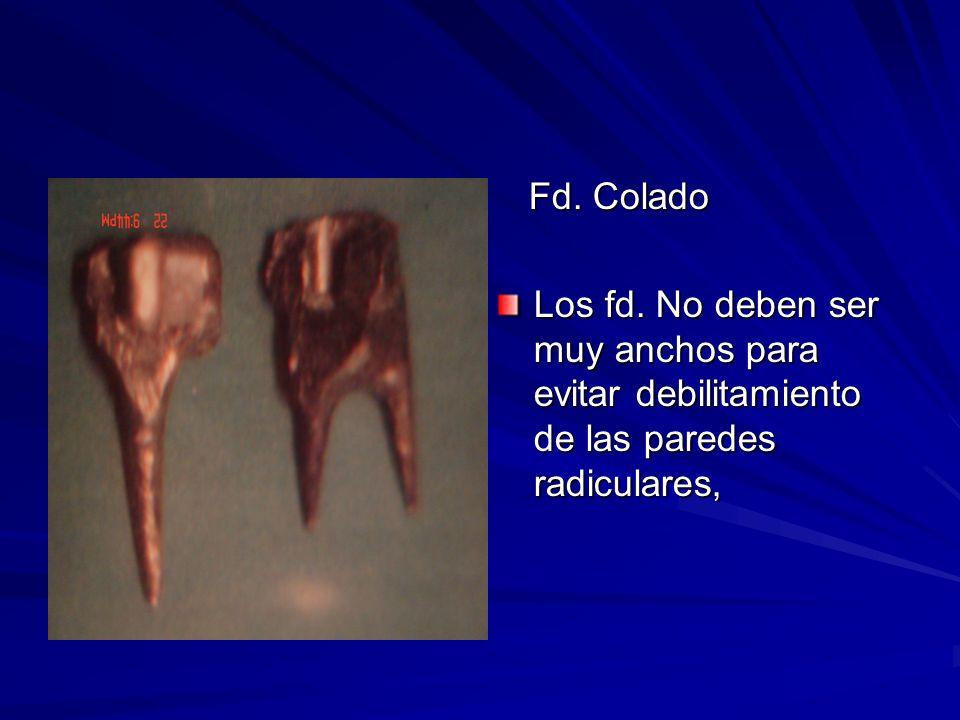 Fd. Colado Los fd. No deben ser muy anchos para evitar debilitamiento de las paredes radiculares,