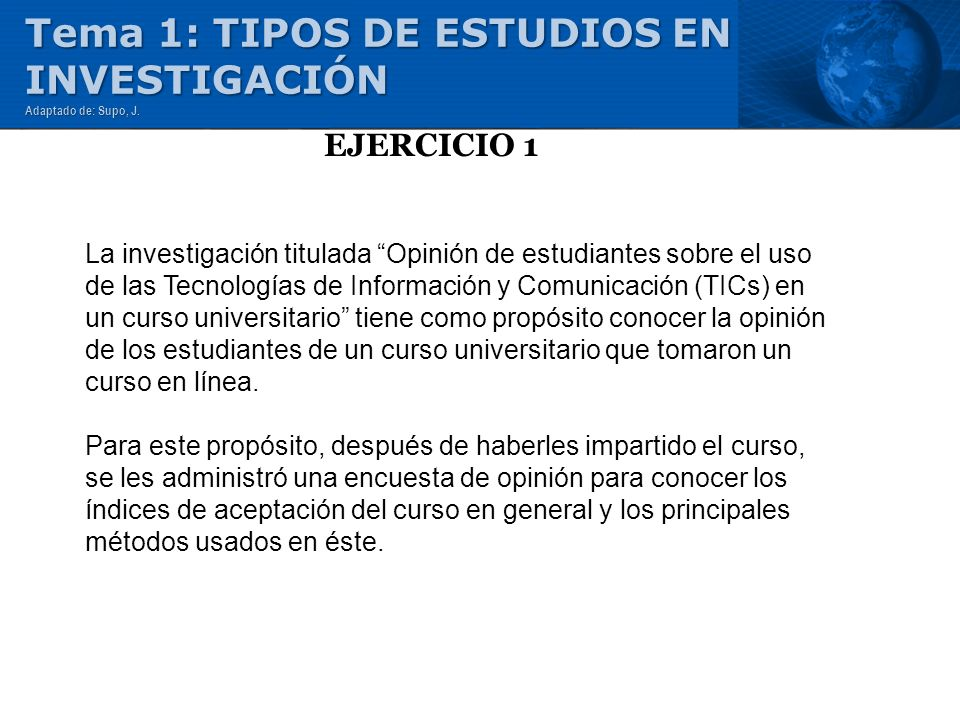 Tema 1: TIPOS DE ESTUDIOS EN INVESTIGACIÓN