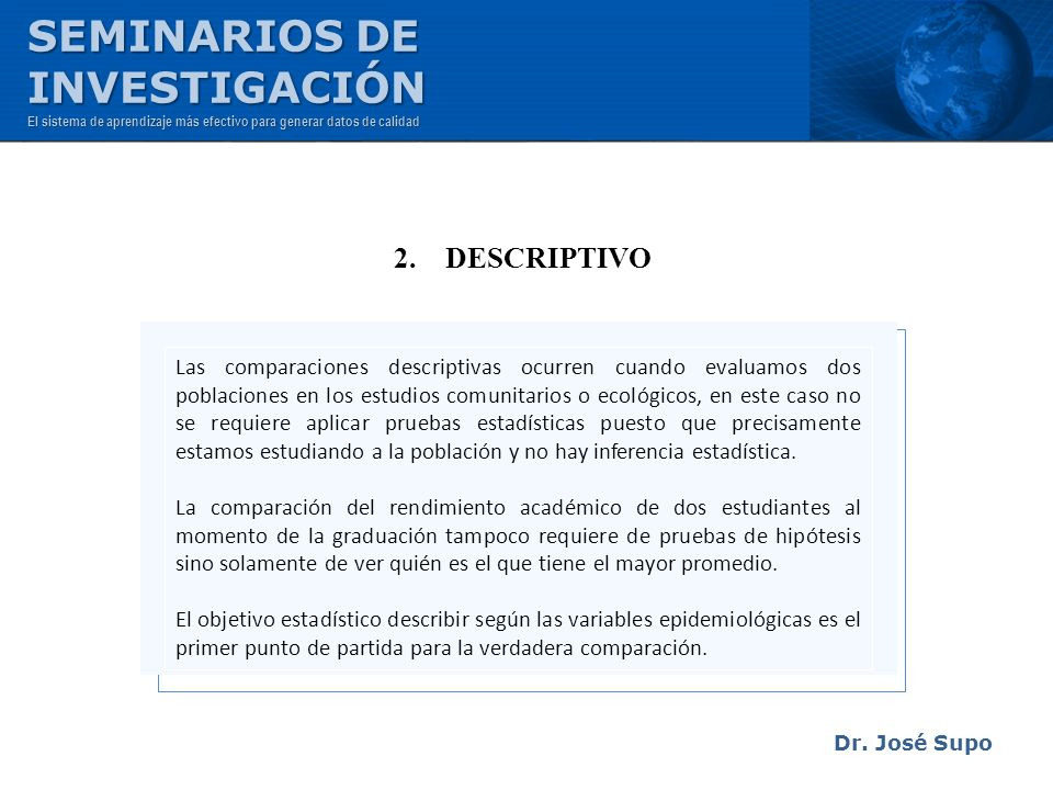 SEMINARIOS DE INVESTIGACIÓN 2. DESCRIPTIVO