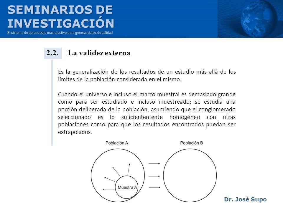 SEMINARIOS DE INVESTIGACIÓN 2.2. La validez externa