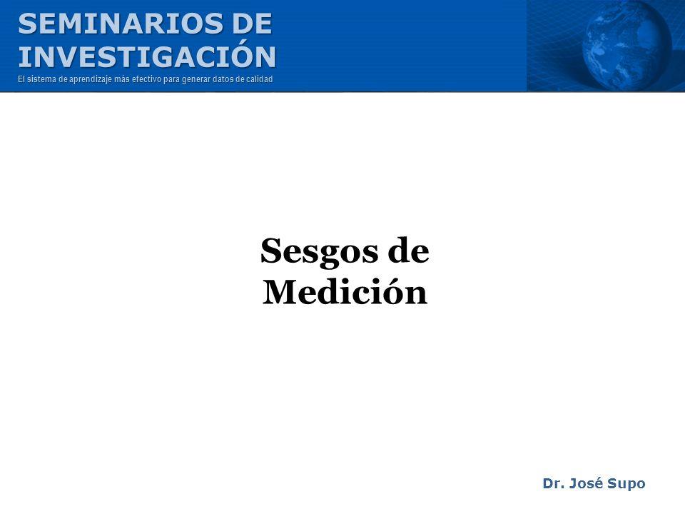 Sesgos de Medición SEMINARIOS DE INVESTIGACIÓN Dr. José Supo