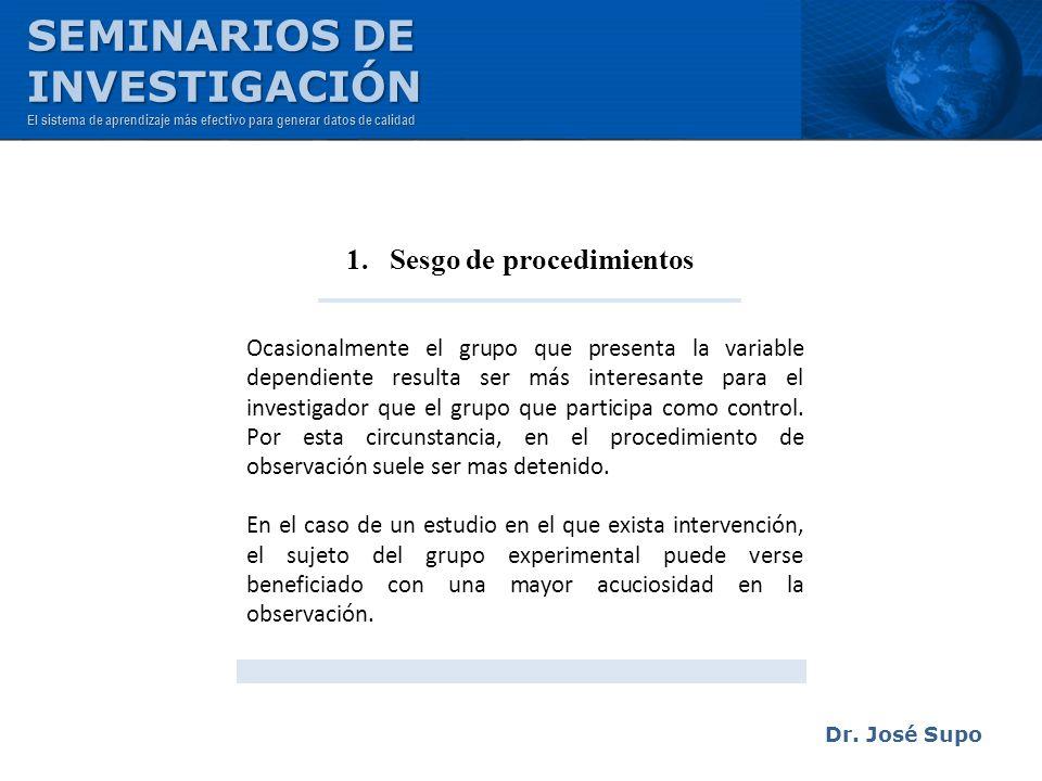 1. Sesgo de procedimientos