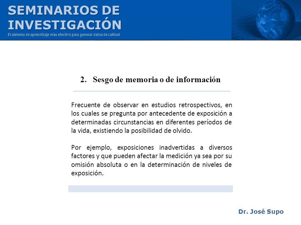 2. Sesgo de memoria o de información