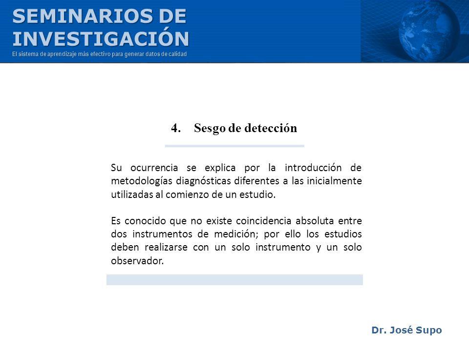 SEMINARIOS DE INVESTIGACIÓN 4. Sesgo de detección