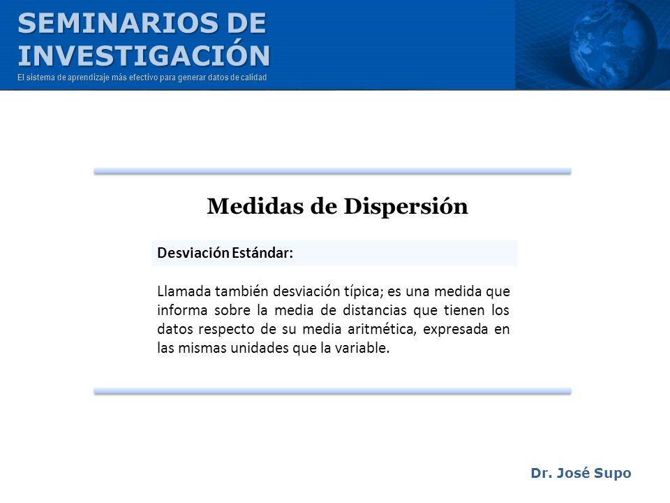 SEMINARIOS DE INVESTIGACIÓN Medidas de Dispersión Desviación Estándar: