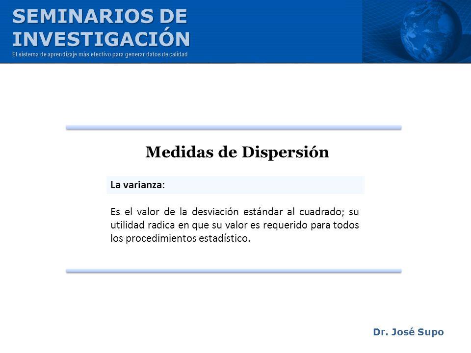 SEMINARIOS DE INVESTIGACIÓN Medidas de Dispersión La varianza: