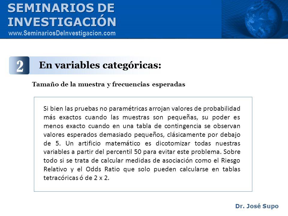 2 SEMINARIOS DE INVESTIGACIÓN En variables categóricas: