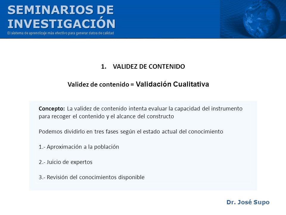 SEMINARIOS DE INVESTIGACIÓN 1. VALIDEZ DE CONTENIDO