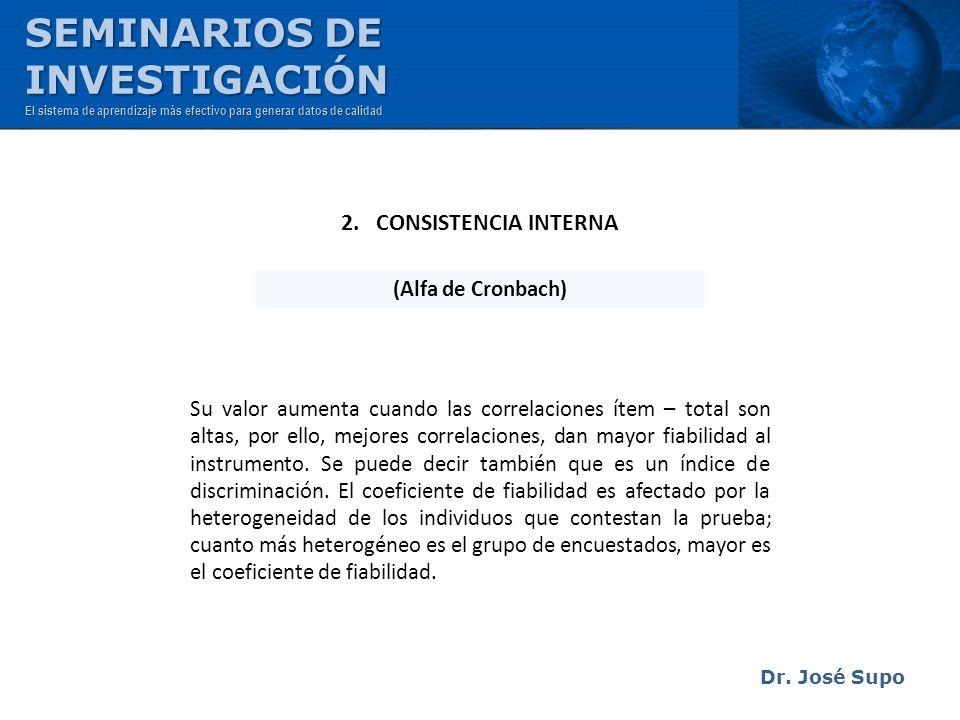 SEMINARIOS DE INVESTIGACIÓN 2. CONSISTENCIA INTERNA (Alfa de Cronbach)