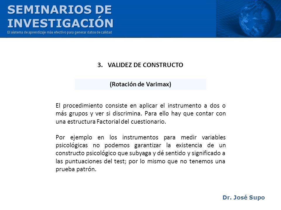 SEMINARIOS DE INVESTIGACIÓN 3. VALIDEZ DE CONSTRUCTO