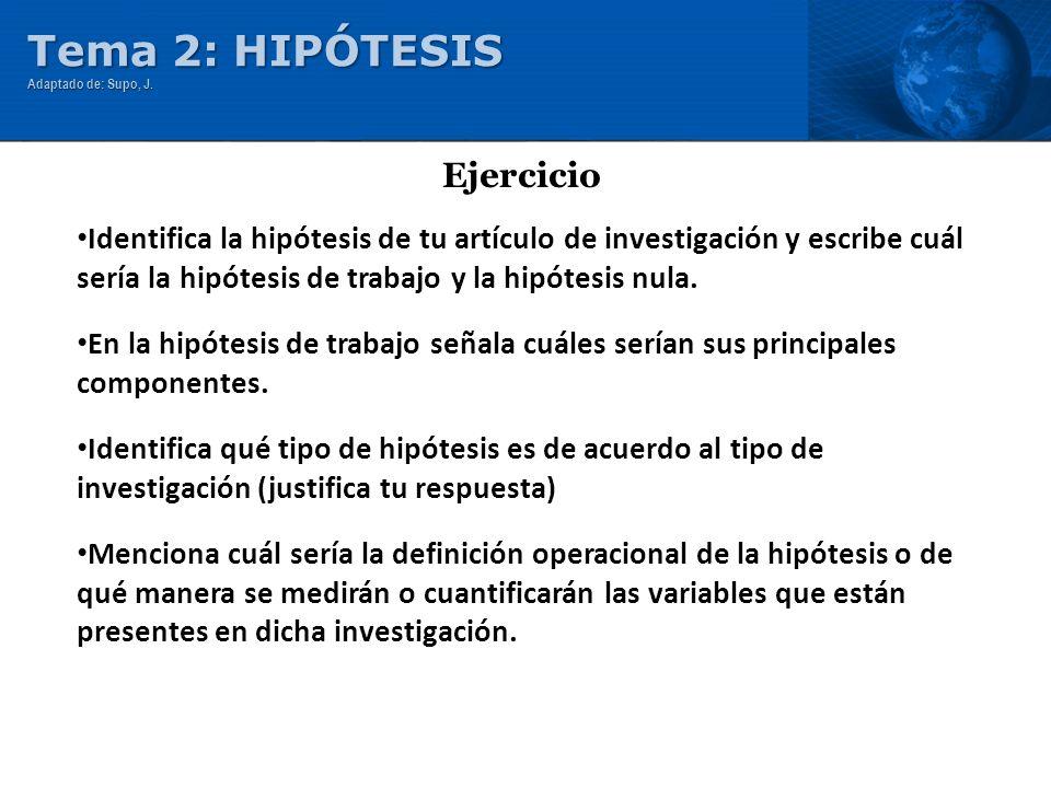 Tema 2: HIPÓTESIS Ejercicio