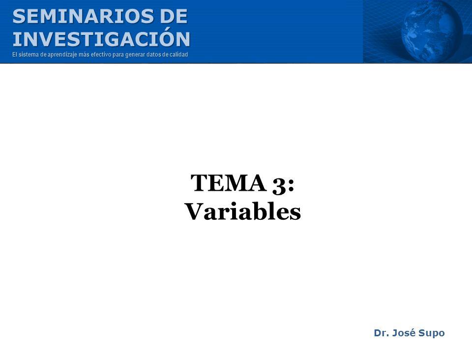 TEMA 3: Variables SEMINARIOS DE INVESTIGACIÓN Dr. José Supo