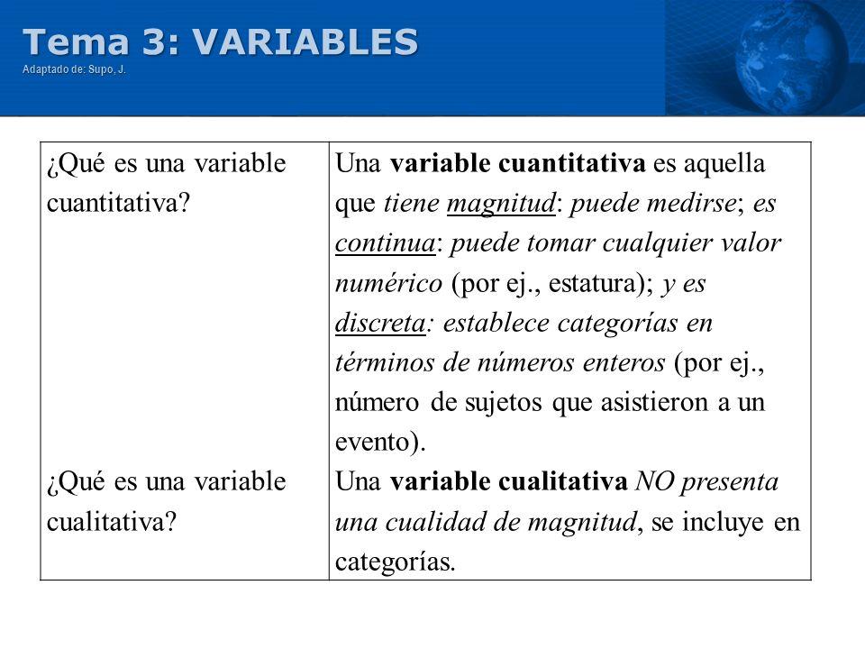 Tema 3: VARIABLES ¿Qué es una variable cuantitativa