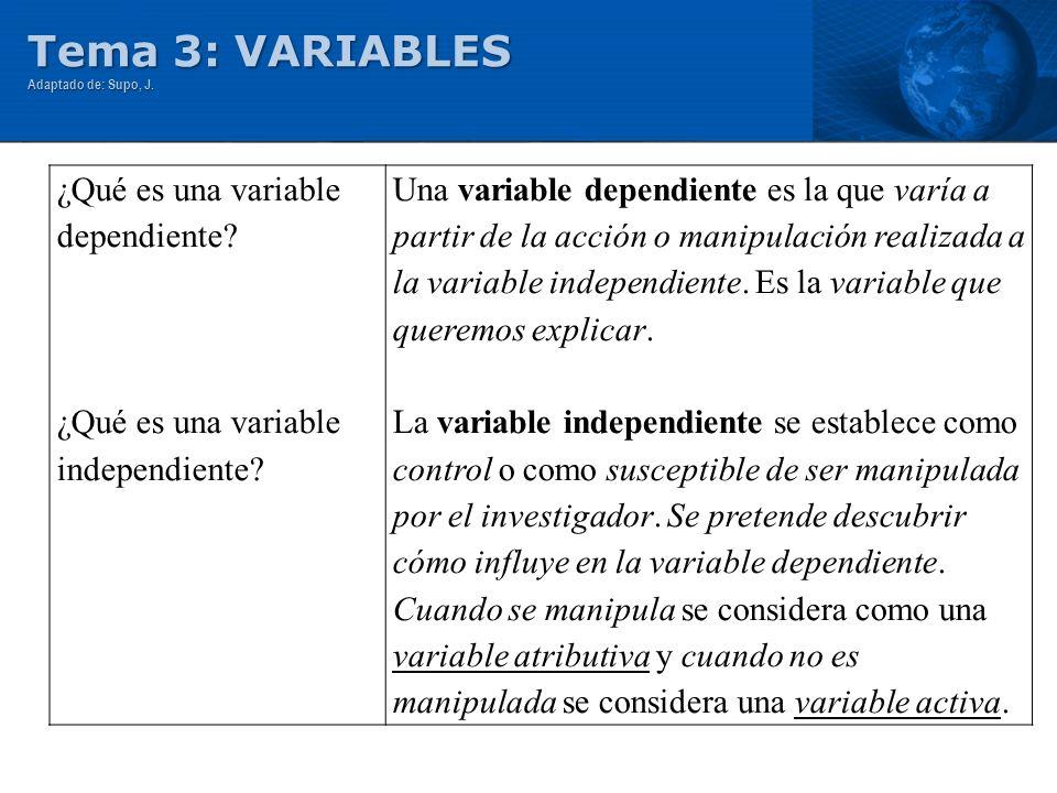 Tema 3: VARIABLES ¿Qué es una variable dependiente