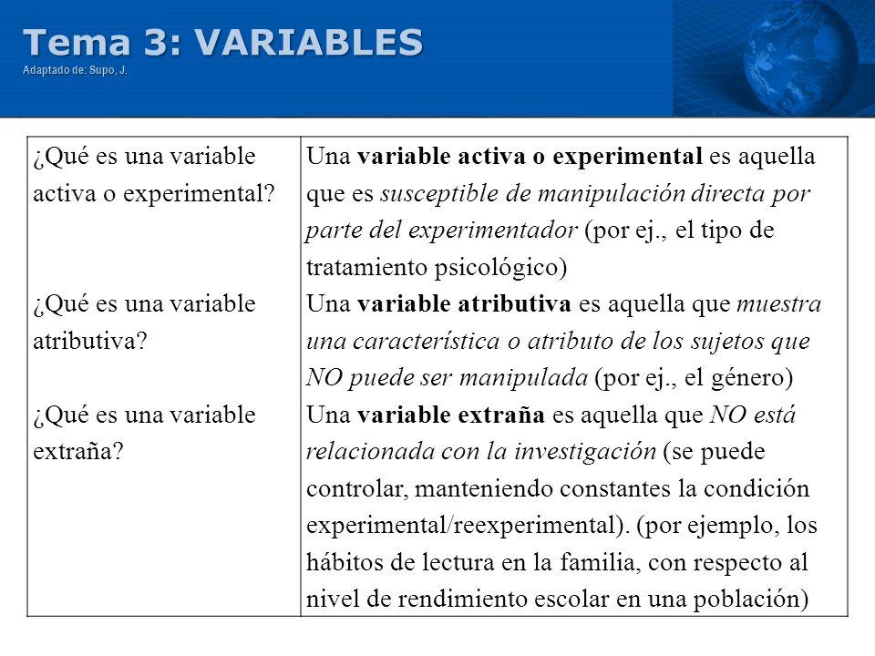 Tema 3: VARIABLES ¿Qué es una variable activa o experimental