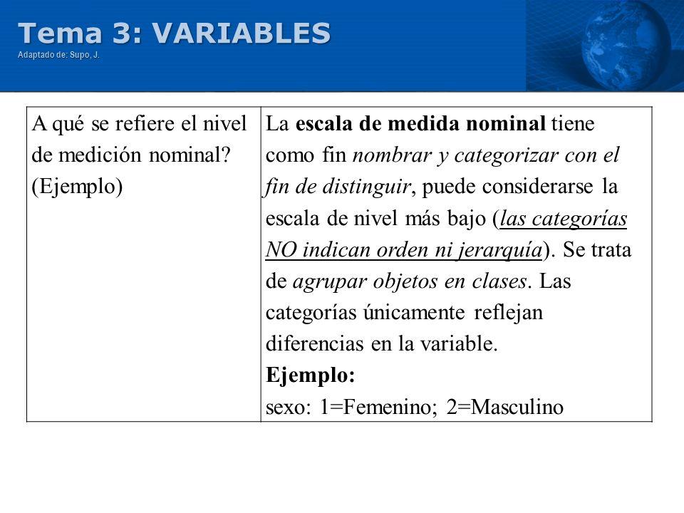 Tema 3: VARIABLES A qué se refiere el nivel de medición nominal