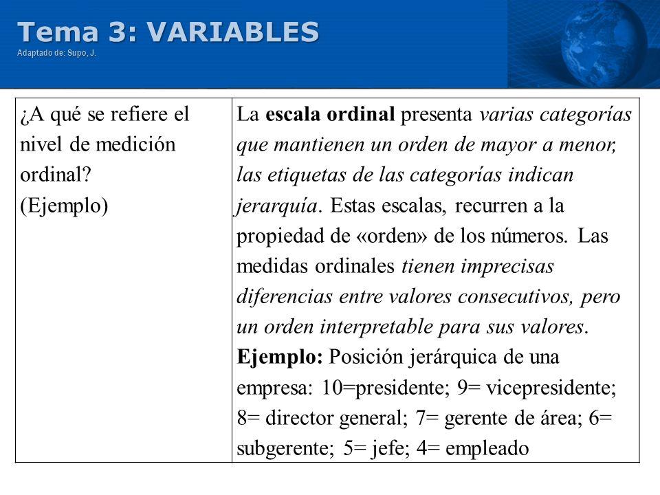Tema 3: VARIABLES ¿A qué se refiere el nivel de medición ordinal