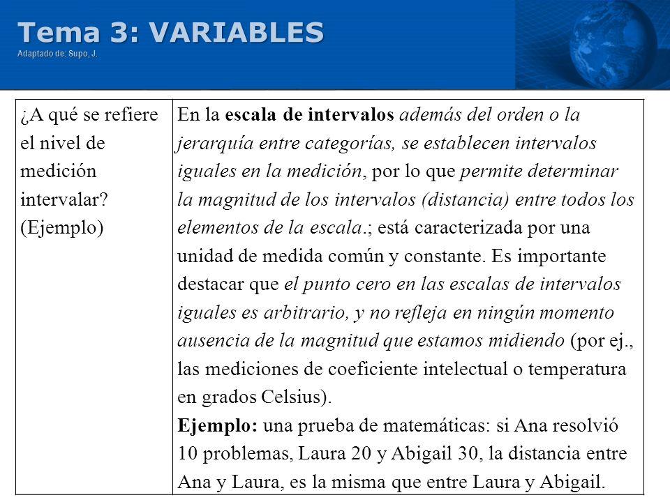 Tema 3: VARIABLES ¿A qué se refiere el nivel de medición intervalar