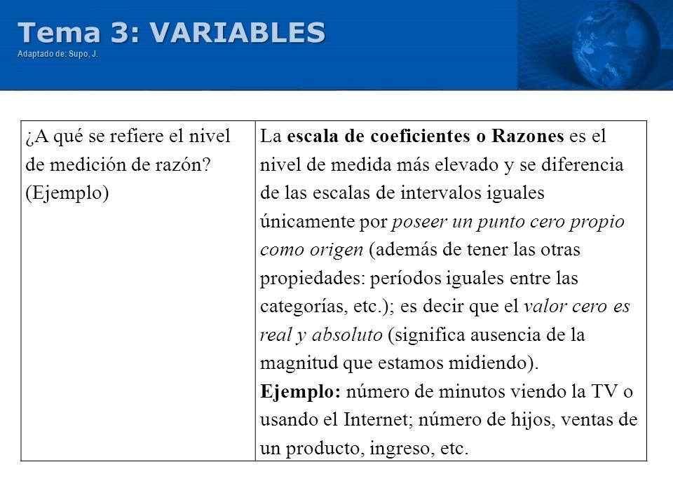 Tema 3: VARIABLES ¿A qué se refiere el nivel de medición de razón