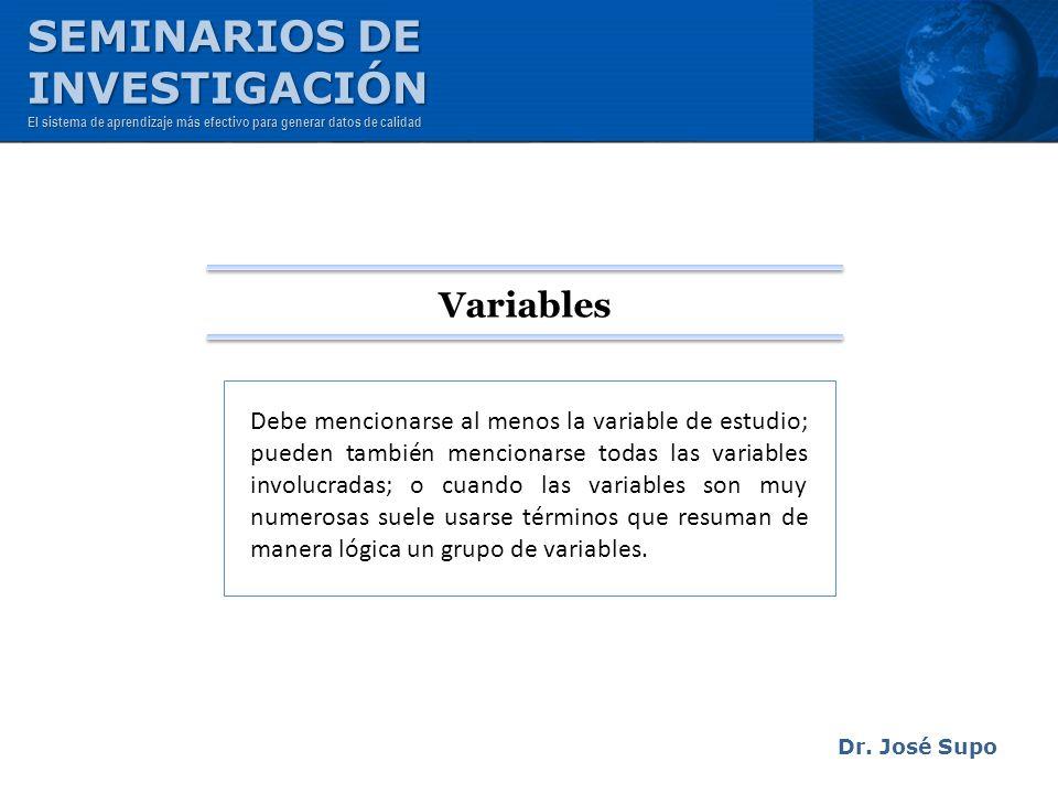 SEMINARIOS DE INVESTIGACIÓN Variables