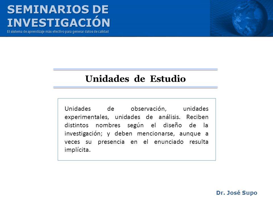 SEMINARIOS DE INVESTIGACIÓN Unidades de Estudio