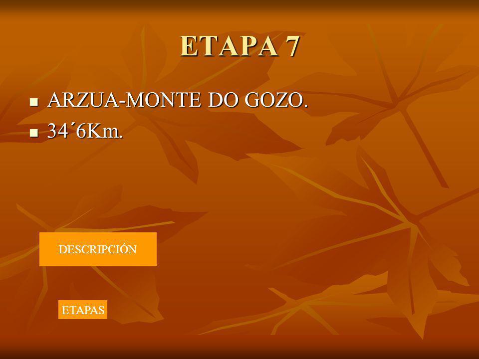 ETAPA 7 ARZUA-MONTE DO GOZO. 34´6Km. DESCRIPCIÓN ETAPAS