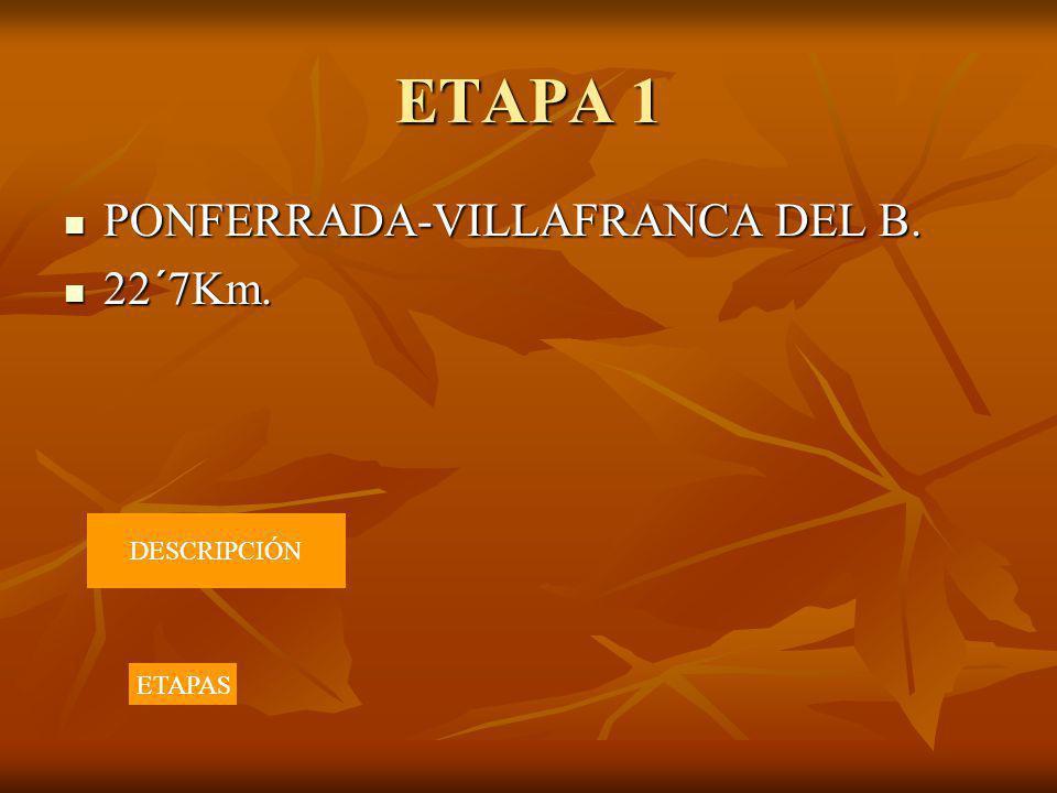 ETAPA 1 PONFERRADA-VILLAFRANCA DEL B. 22´7Km. DESCRIPCIÓN ETAPAS
