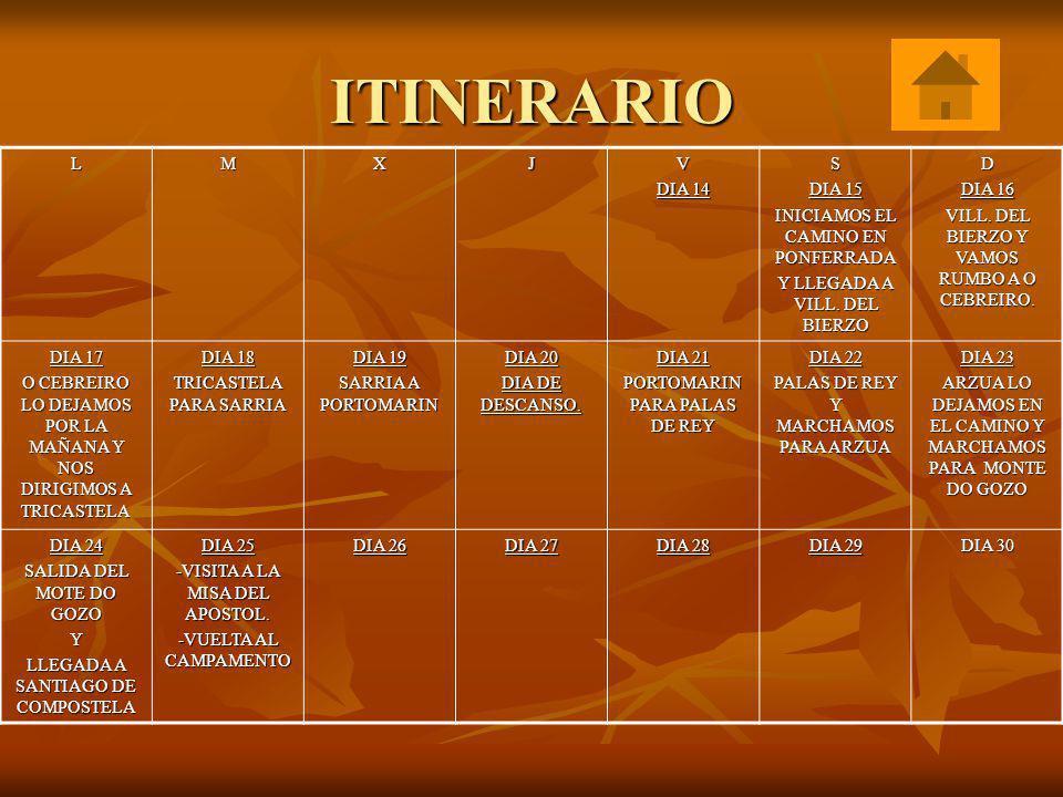 ITINERARIO L M X J V DIA 14 S DIA 15 INICIAMOS EL CAMINO EN PONFERRADA