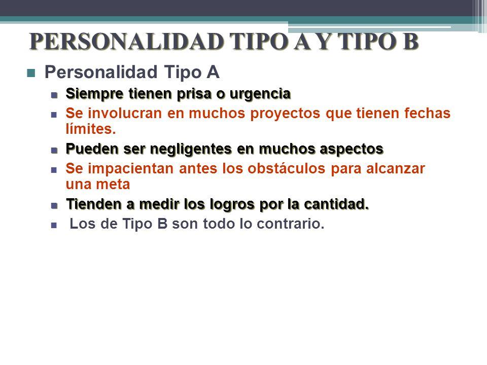 PERSONALIDAD TIPO A Y TIPO B