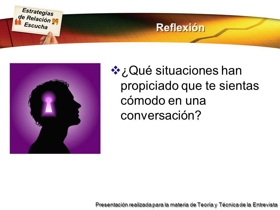 Reflexión ¿Qué situaciones han propiciado que te sientas cómodo en una conversación
