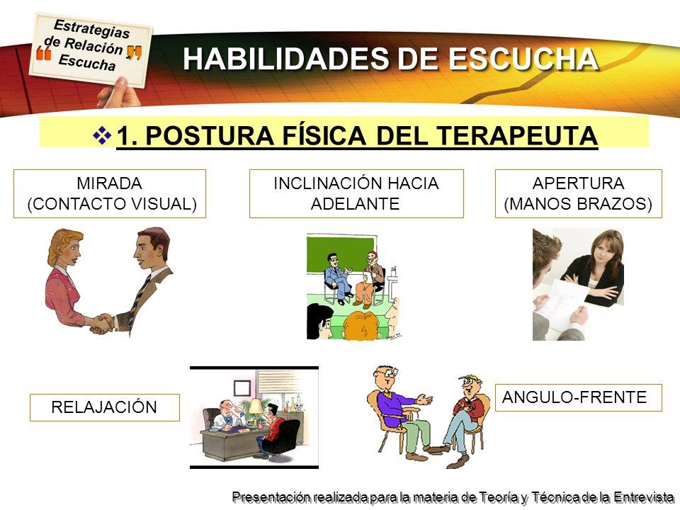 HABILIDADES DE ESCUCHA 1. POSTURA FÍSICA DEL TERAPEUTA