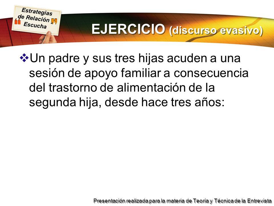 EJERCICIO (discurso evasivo)