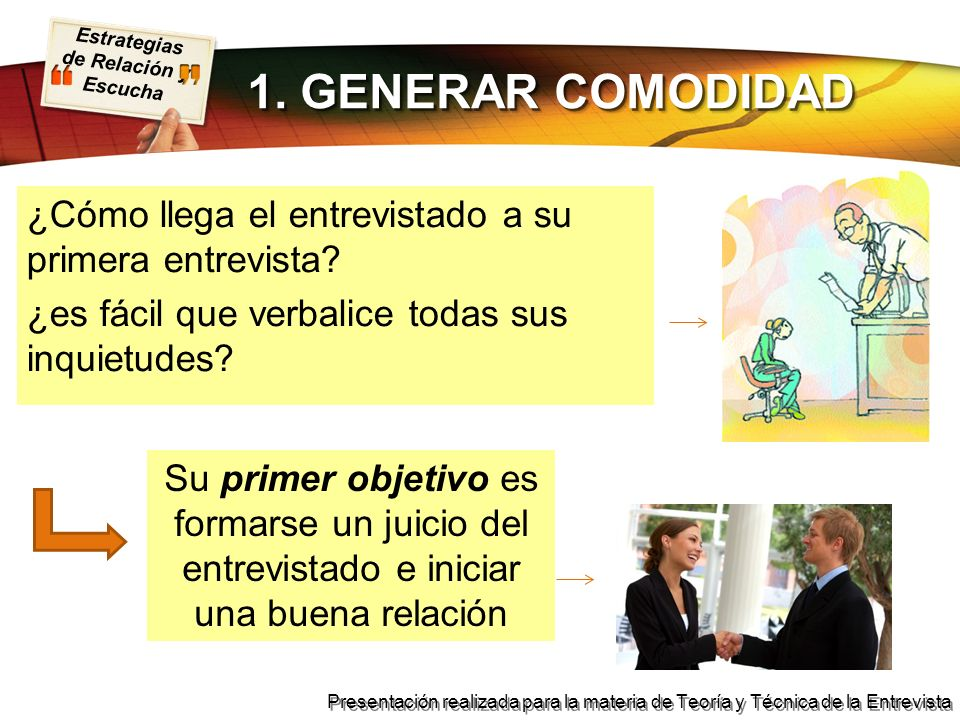 1. GENERAR COMODIDAD ¿Cómo llega el entrevistado a su primera entrevista ¿es fácil que verbalice todas sus inquietudes