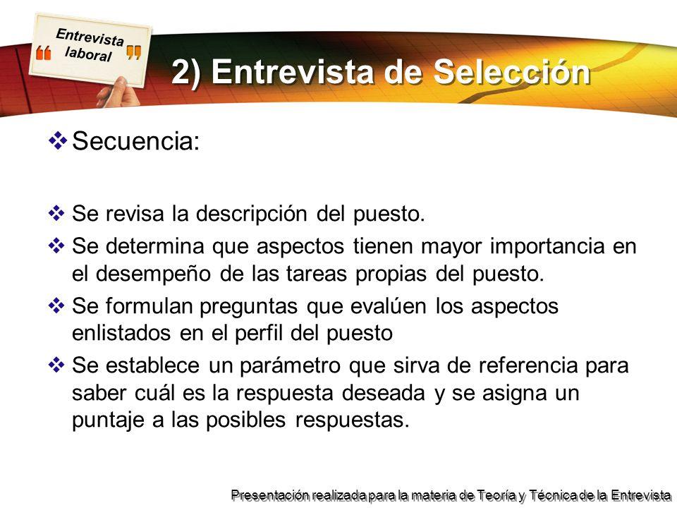 2) Entrevista de Selección