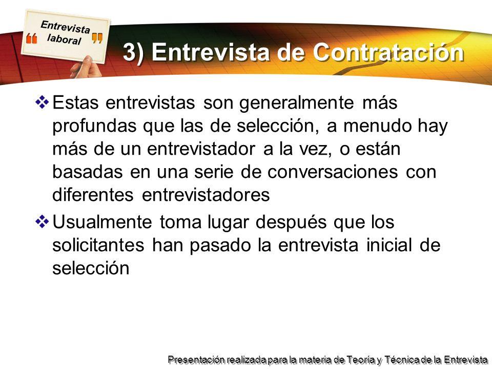 3) Entrevista de Contratación