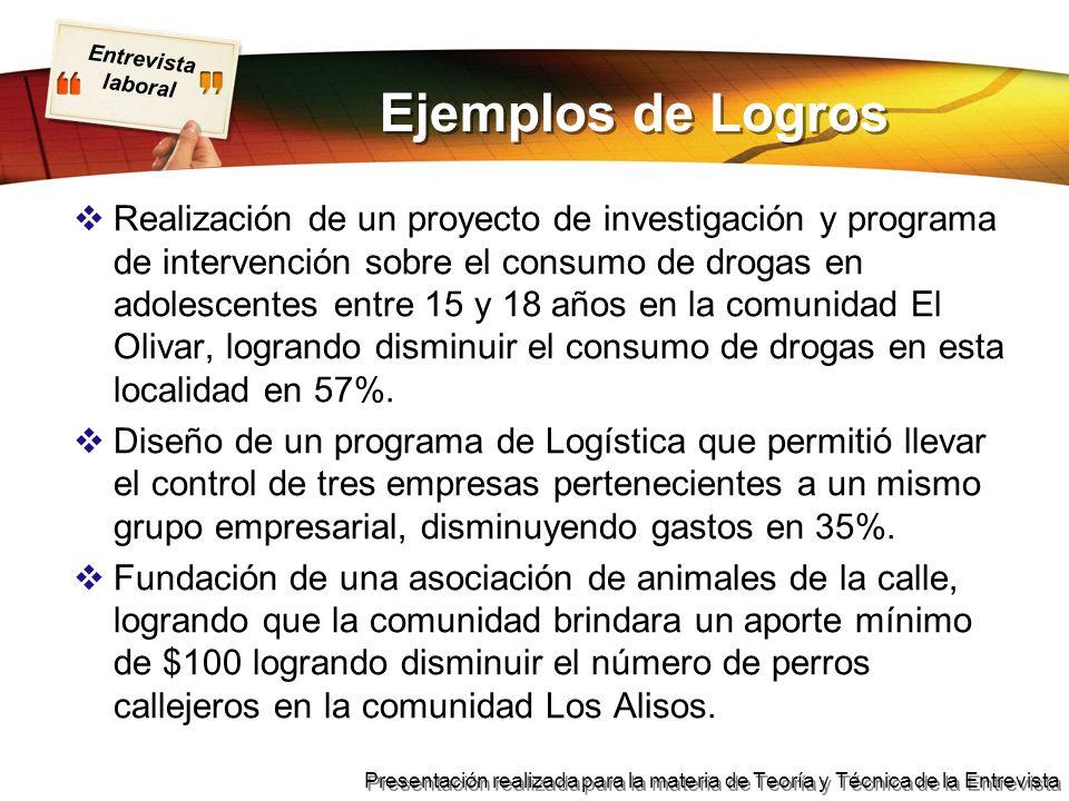 Ejemplos de Logros