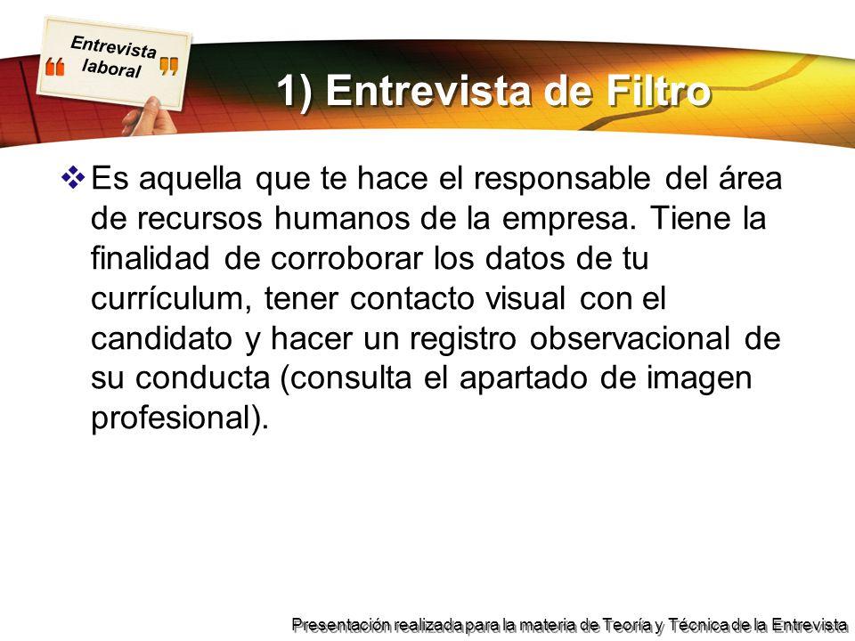 1) Entrevista de Filtro