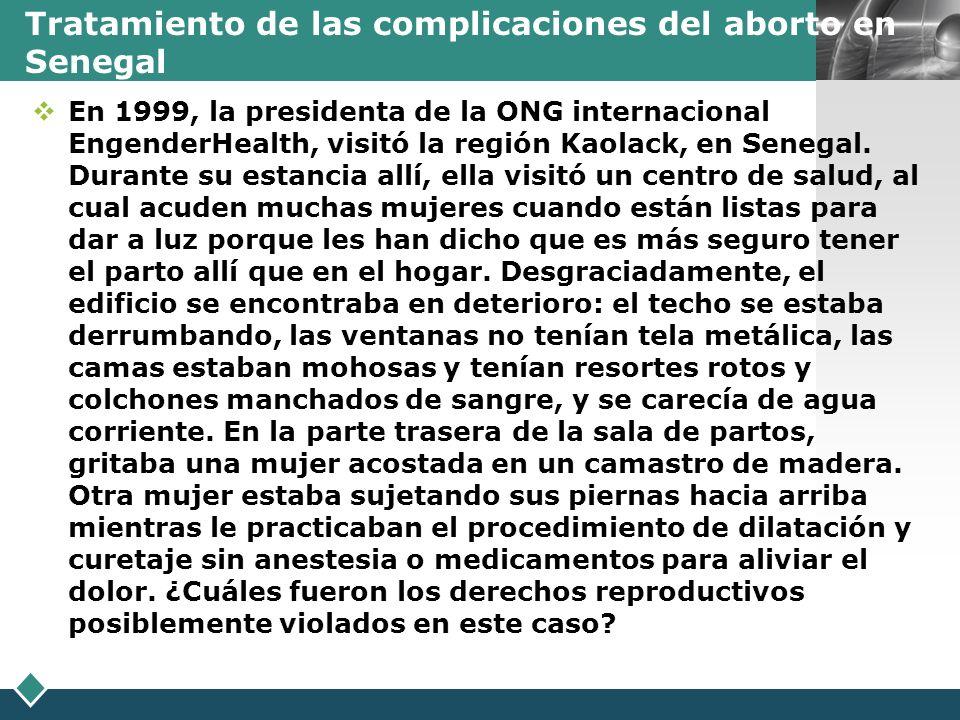 Tratamiento de las complicaciones del aborto en Senegal